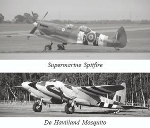 Supermarine Spitfire and De Havilland Mosquito